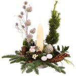 Kerststuk witte kaars bestellen bestellen of bezorgen