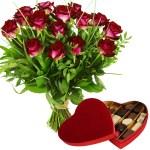 Leonidas hart en rode rozen bestellen of bezorgen
