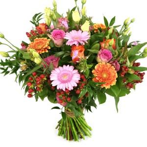 Moederdag boeket: Liefste mama oranje en roze tinten bestellen of bezorgen