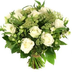 Moederdag boeket witte rozen en bloemen bestellen of bezorgen