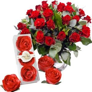 Rode rozen en Rozen zeepblaadjes bestellen of bezorgen