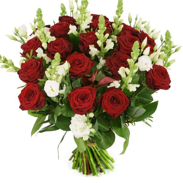 Rode rozen en witte bloemen bestellen of bezorgen