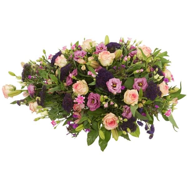 Rouwstuk roze paarse bloemen bestellen bestellen of bezorgen