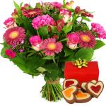 Roze bloemen met hartjes chocolade bestellen bestellen of bezorgen