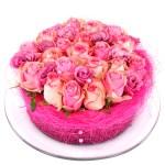 Roze rozen bloementaart bestellen bestellen of bezorgen