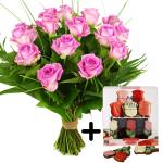 Roze rozen en rozenchocolade bestellen of bezorgen