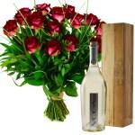 Voga Sparkling Prosecco met rode rozen bestellen of bezorgen