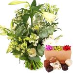 Witte pluk bloemen met bonbons bestellen of bezorgen