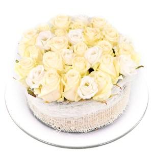 Witte rozen bloementaart kopen bestellen of bezorgen