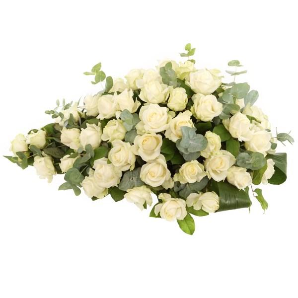 Witte rozen rouwstuk bezorgen bestellen of bezorgen