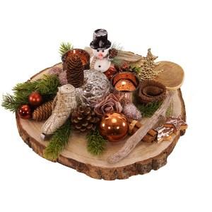 Zijde plateau kerststuk bezorgen bestellen of bezorgen