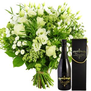 Witte bloemen + chocolade wijn bestellen of bezorgen