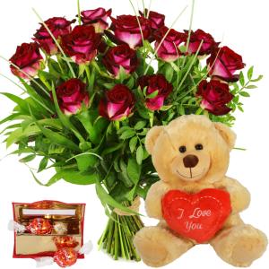 Rode rozen en knuffelbeer bezorgen bestellen of bezorgen