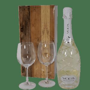 Luxe fles Voga prosecco dry met champagne glazen bestellen of bezorgen