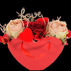 Rood hart met zijde rozen bestellen of bezorgen