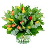 Boeket met drie kleuren tulpen bestellen of bezorgen online