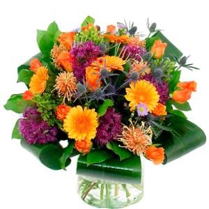 Boeket oranje - paars bestellen of bezorgen online