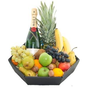 Fruitmand de luxe met fles Moët & Chandon bestellen of bezorgen online