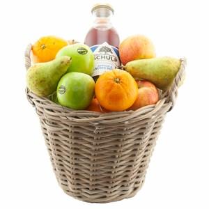 Fruitmand vol met plukfruit en sap bestellen of bezorgen online