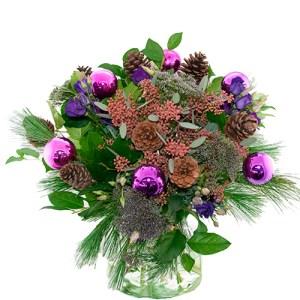 Kerstboeket lila paars bestellen of bezorgen online