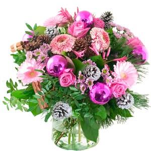 Kerstboeket lila/ roze bestellen of bezorgen online