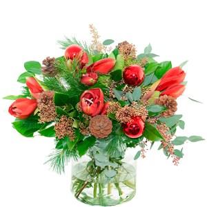 Kerstboeket rode amaryllis bestellen of bezorgen online