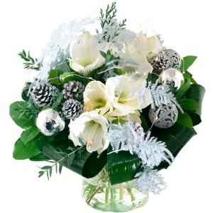 Kerstboeket witte amaryllis met ledlampjes bestellen of bezorgen online