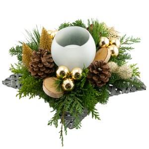 Kerststuk in schaal goud tinten bestellen of bezorgen online