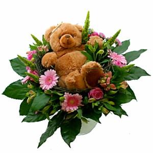 Knuffelboeket Roze met bruine beer bestellen of bezorgen online