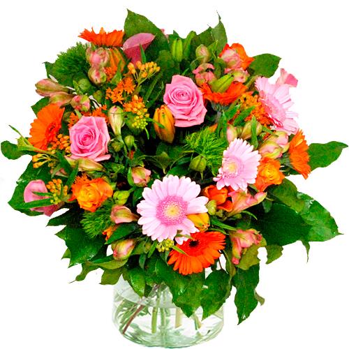 Moederdag boeket oranje roze bestellen of bezorgen online