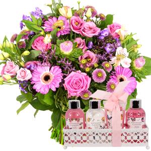 Moederdag boeket roze paars + geur badset in rekje bestellen of bezorgen