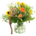 Oranje/ geel boeket met vaas bestellen of bezorgen online