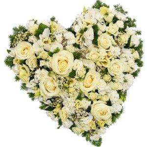 Rouwarrangement hart vorm wit bestellen of bezorgen online