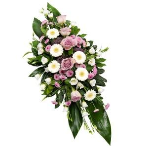 Rouwarrangement lila-wit bestellen of bezorgen online