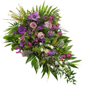 Rouwboeket lila paars bestellen of bezorgen online