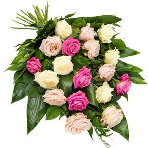 Rouwboeket roze en witte rozen bestellen of bezorgen online