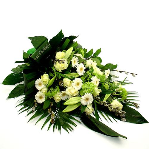 Rouwboeket wit groen bestellen of bezorgen online