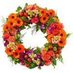 Rouwkrans Ajour oranje bloemen en tintje fuchsia bestellen of bezorgen online