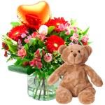Valentijn boeket met beer bestellen of bezorgen online