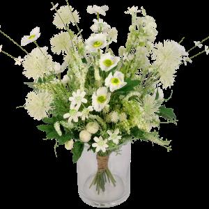 Veldboeket zijdebloemen wit groen bestellen of bezorgen