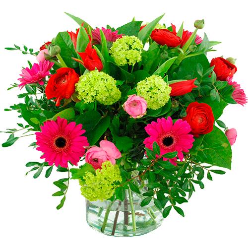 Voorjaarsboeket rood roze en lila bestellen of bezorgen online