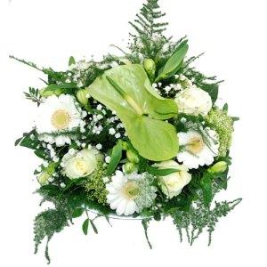 Wit bloemstukje in schaal bestellen of bezorgen online