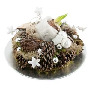 kerstarrangement wit/zilver met amaryllisbol bestellen of bezorgen online