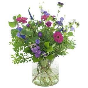 lila/ paars boeket met vaas bestellen of bezorgen online