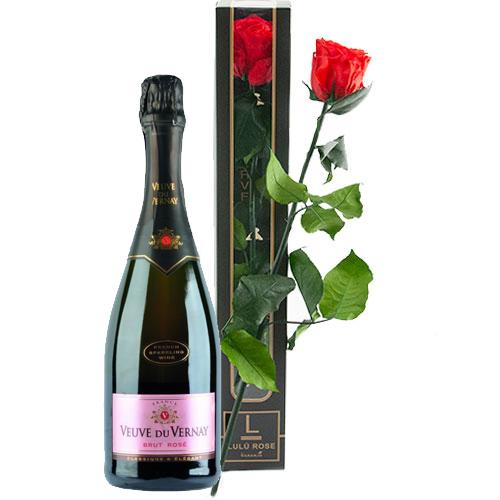 lulu roos met fles bubbels bestellen of bezorgen online