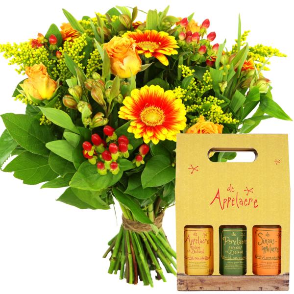 Boeket geel oranje en Giftbox sappen bestellen of bezorgen