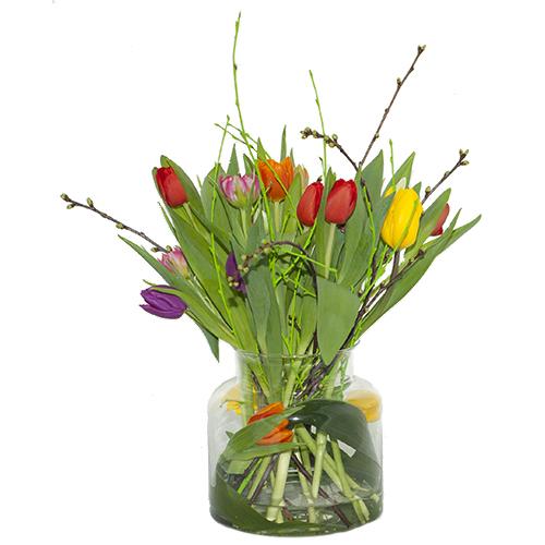 Boeket gemengde tulpen met voorjaarsbloesem (NIET LEVERBAAR IN VERBAND MET SEIZOEN) bestellen of bezorgen online