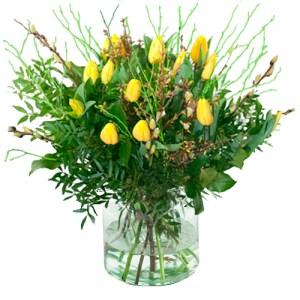 Gele tulpen met voorjaarstakken (NIET LEVERBAAR IN VERBAND MET SEIZOEN) bestellen of bezorgen online