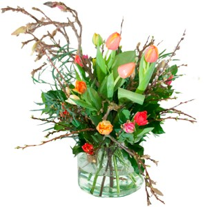 Gemengde tulpen met voorjaarstakken (NIET LEVERBAAR IN VERBAND MET SEIZOEN) bestellen of bezorgen online