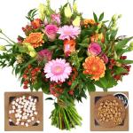Boeket roze - oranje en stroopwafels bestellen of bezorgen